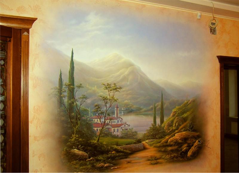 Интерьер роспись стен картинки
